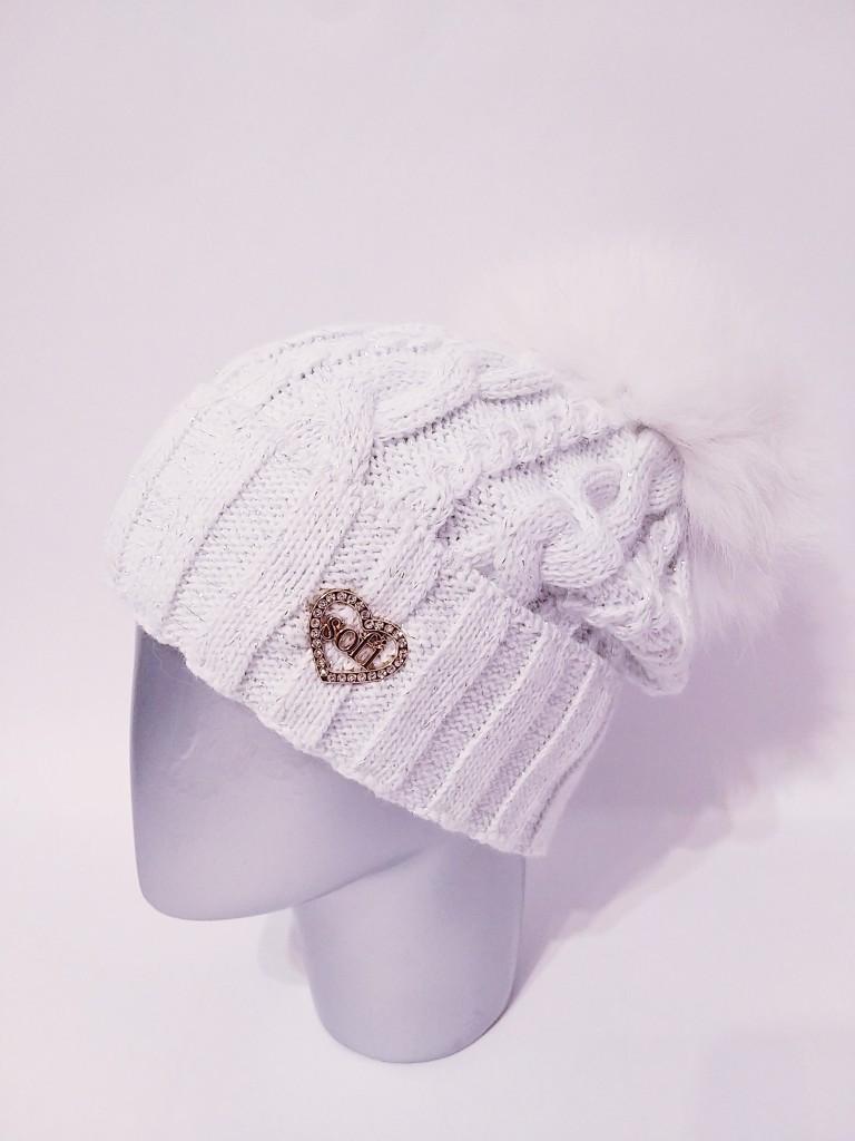 Вязаная женская шапка крупной вязки с подворотом и бубоном 12gol208