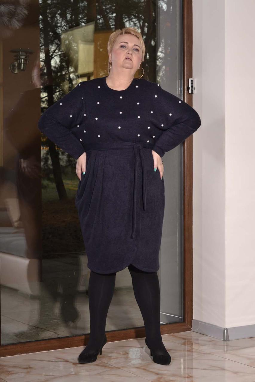 Женское платье из стрейчевой ангоры в больших размерах с асимметрией 10blr445