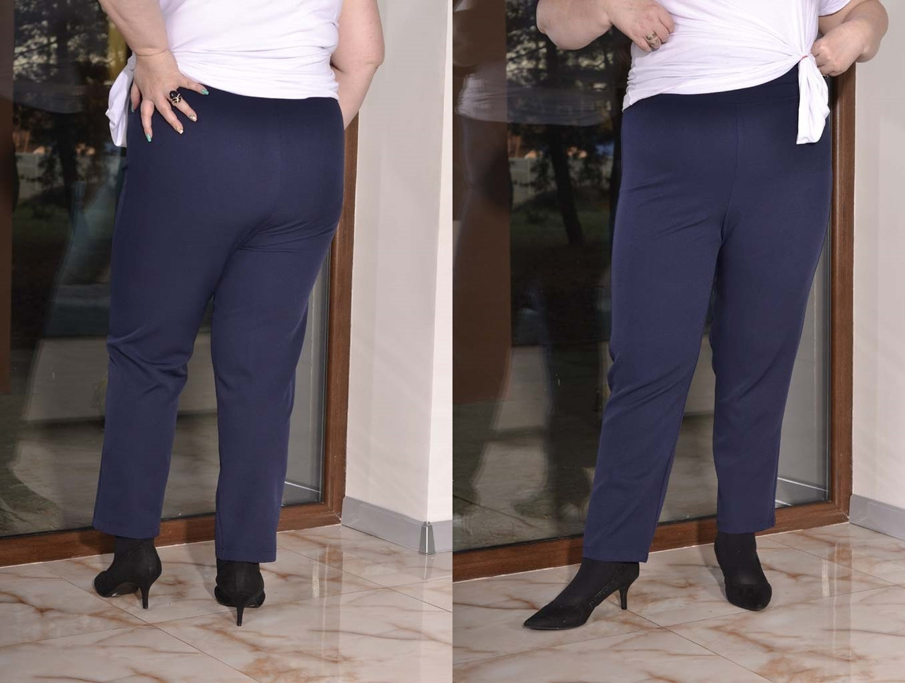 Женские зауженные брюки в больших размерах из костюмки 10blr449