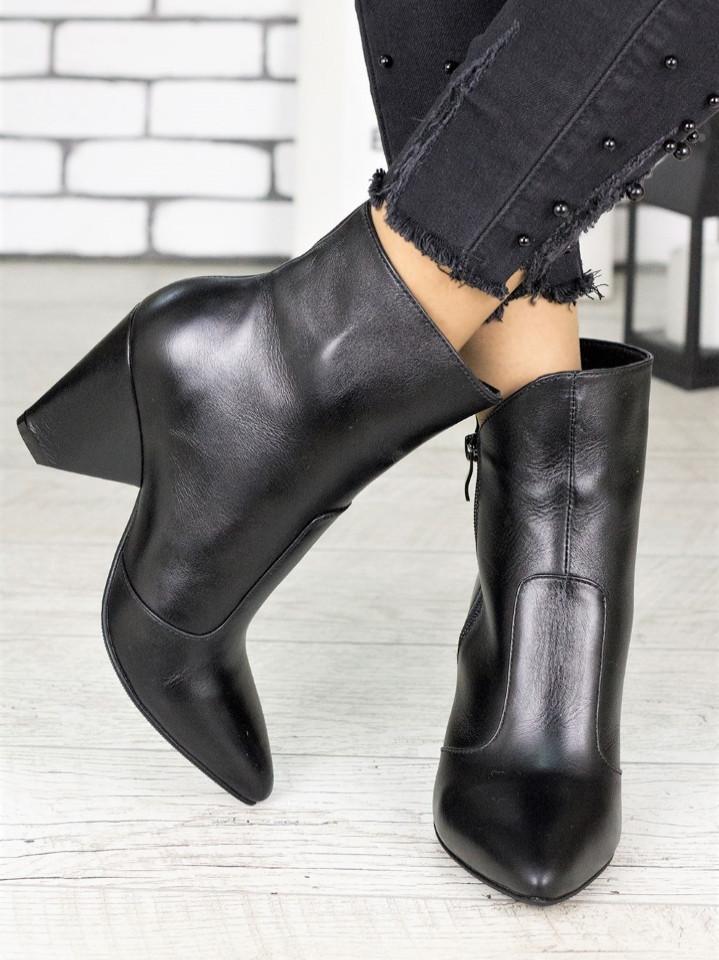 Женские черные кожаные ботильоны на небольшом каблуке 75OB08