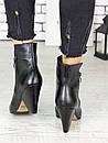 Женские черные кожаные ботильоны на небольшом каблуке 75OB08, фото 3