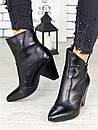 Женские черные кожаные ботильоны на небольшом каблуке 75OB08, фото 4