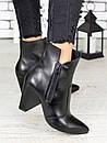 Женские черные кожаные ботильоны на небольшом каблуке 75OB08, фото 5