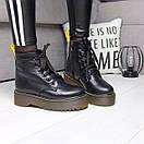 Женские натуральные ботинки на шнуровке невысокие 74OB13, фото 4