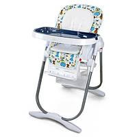 Стульчик детский качественный для кормления с колесиками и подносом для детей от 6 мес до 3 лет синий