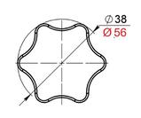 Ручка-зірочка для твердопаливного котла M8 з внутр. різьбленням (Польща), фото 2