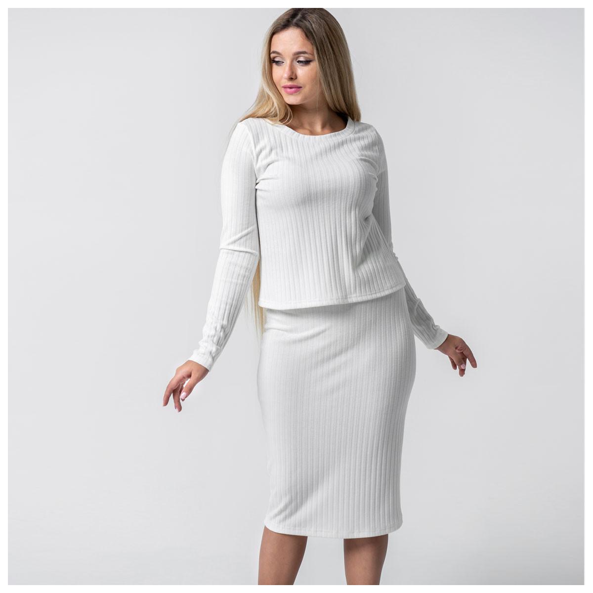 "Костюм юбка и кофта ""Белый"" Трикотаж"