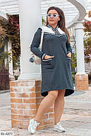 Молодежное ассиметричное платье больших размеров, размеры: 50-52, 54-56, 58-60, 62-64