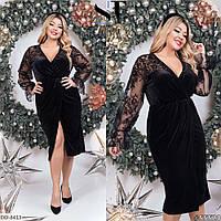 Вечернее черное бархатное платье с запахом, размеры 48-52,54-58,60-64