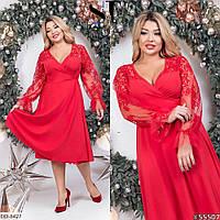 Красное нарядное женское платье на запах с 42 по 64 размер