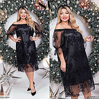 Нарядное черное платье больших размеров
