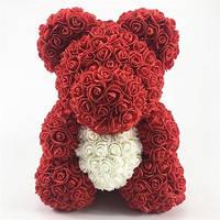 Подарок на День Рождения - медведь из искусственных 3D роз 40 см в блистере красный