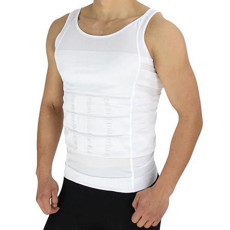 Мужская майка корректирующая талию Slim-n-Lift - M, белая, утягивающее белье, фото 2