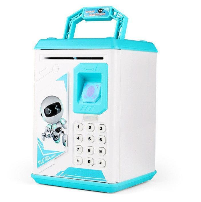Электронные копилки | Копилка для детей | Детская копилка сейф Robot Bodyguard с отпечатком пальца голубой