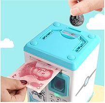 Электронные копилки | Копилка для детей | Детская копилка сейф Robot Bodyguard с отпечатком пальца голубой, фото 2