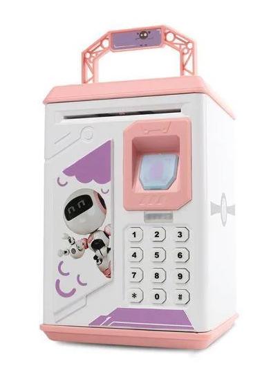 Электронные копилки | Копилка для детей | Детская копилка сейф Robot Bodyguard с отпечатком пальца розовый