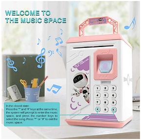 Электронные копилки | Копилка для детей | Детская копилка сейф Robot Bodyguard с отпечатком пальца розовый, фото 2