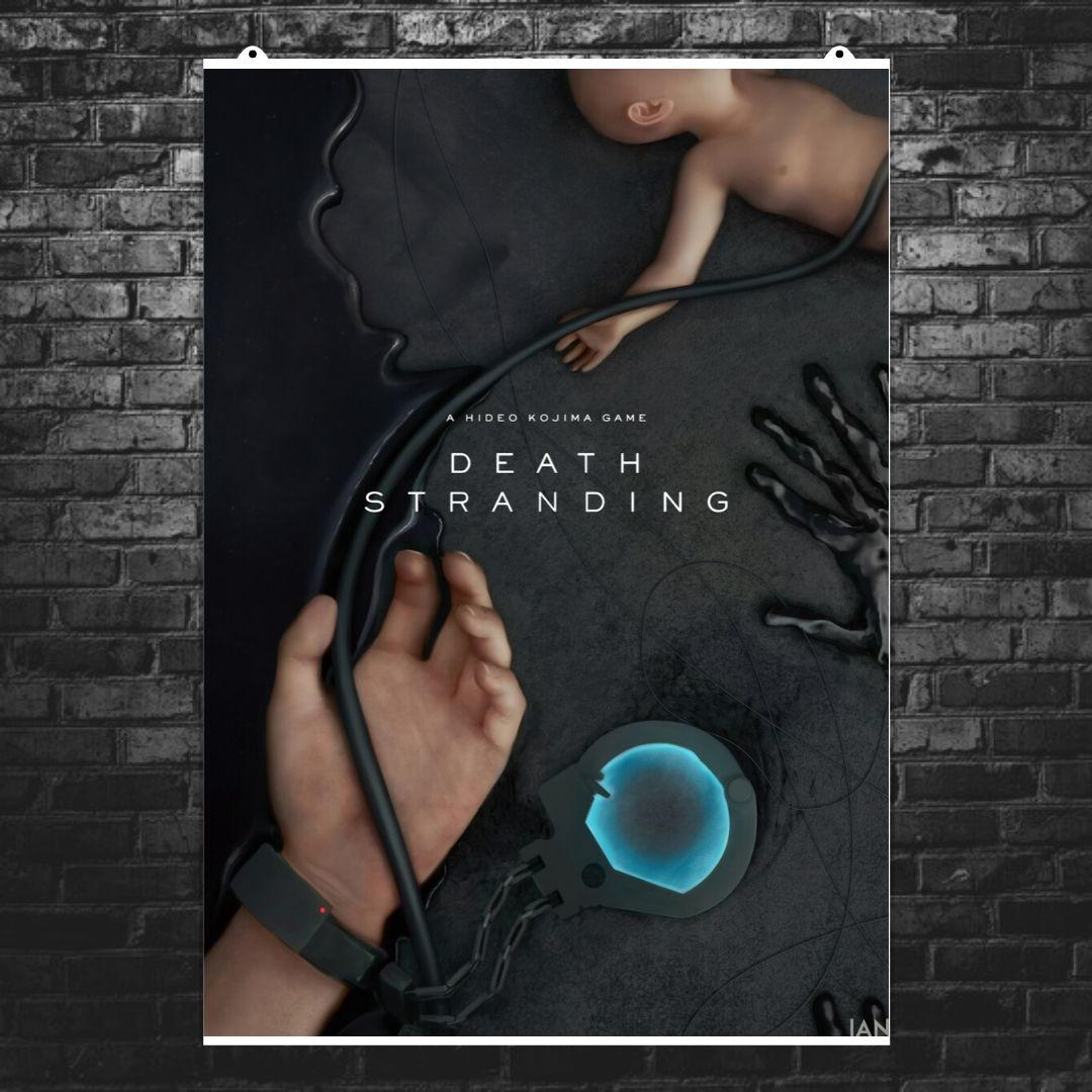 "Постер ""Death Stranding. Bridge Baby и рука с наручниками"". Размер 60x43см (A2). Глянцевая бумага"