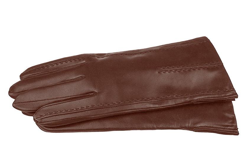 Чоловічі рукавички з натуральної шкіри модель 066 каштан на вовняної підкладці