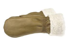 Женские варежки из натуральной кожи модель 168 альпака на подкладке из натурального меха, фото 2