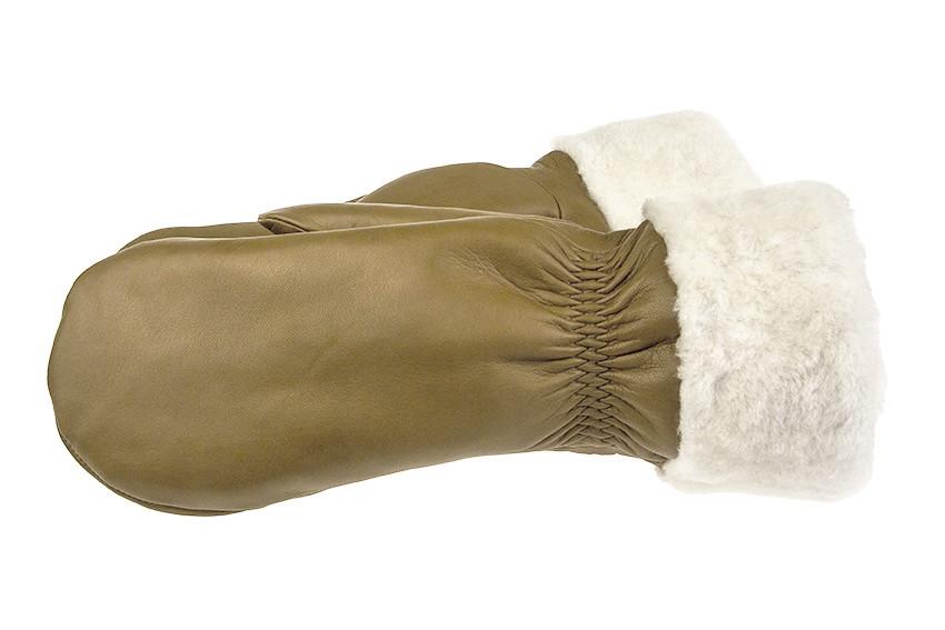 Женские варежки из натуральной кожи модель 168 альпака на подкладке из натурального меха