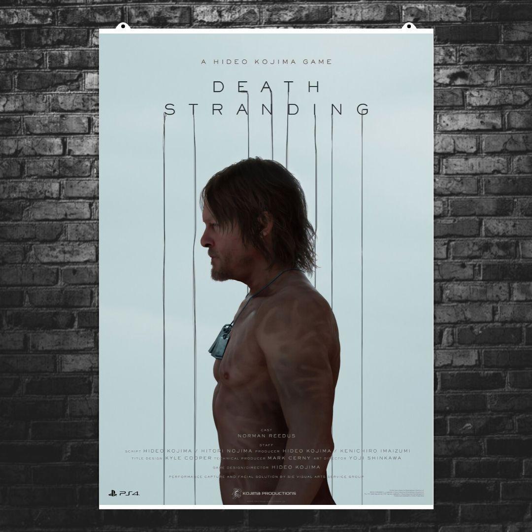 """Постер """"Death Stranding. Сэм Портер Бриджес"""". Норман Ридус в профиль, вертикальный. Размер 60x43см (A2). Глянцевая бумага"""