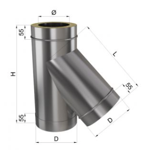 Тройник дымохода 45° нерж\нерж 0,8 мм 140/200, фото 2