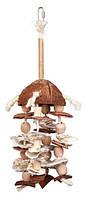 Игрушка подвесная в клетку попугаю (ракушки/кокос/канат)