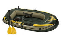 Двухместная надувная лодка с насосом и веслами Интекс 236х114x41,резиновые лодки, надувные лодки, насосы, весл