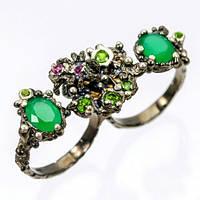 Серебряное Кольцо ручной работы на два пальца с Зеленым Ониксом, Хромдиопсидамии Гранатами родолитами