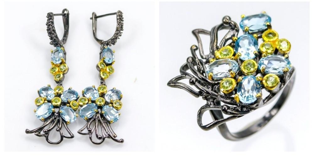 Набор украшений ручной работы с натуральными голубыми Топазами и Перидотом (Хризолитом)