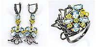 Набор украшений ручной работы с натуральными голубыми Топазами и Перидотом (Хризолитом), фото 1