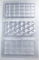 Молд для шоколада Шоколадная плитка, пластик, 3 вида
