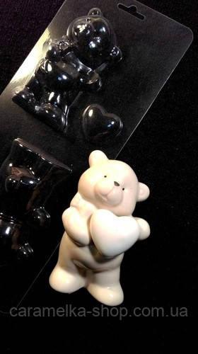 Молд для шоколада Мишка с сердцем 3D ,пластик