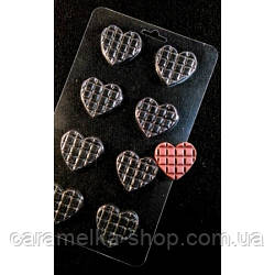 Молд для шоколаду міні-плитки Сердечка ,пластик