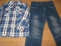 Детский джинсовый костюм с рубашкой для мальчика   104, 110см  Турция
