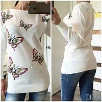 Женский свитер с модным принтом и длинными рукавами