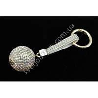 """Брелок женский со стразами, бело-золотистого цвета с цветным переливом """"Women's keychain with rhinestones"""""""