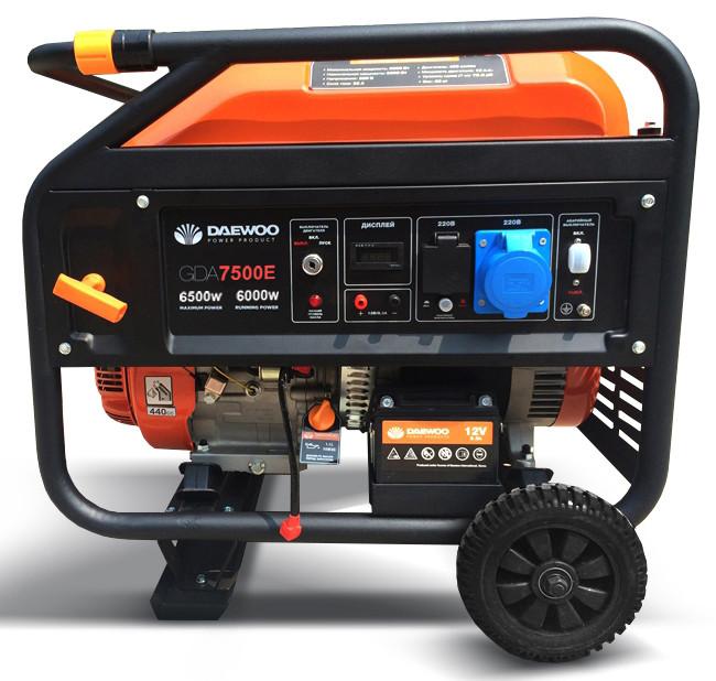 Однофазный бензиновый генератор Daewoo GDA 7500 E (6.5 кВт)