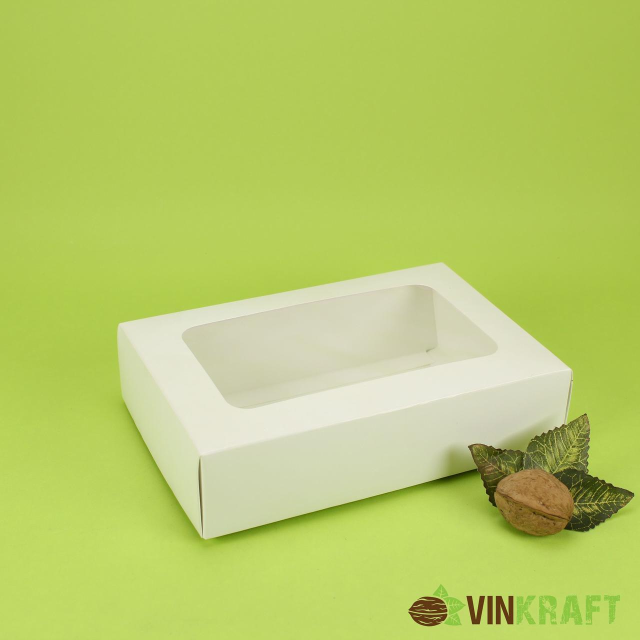 Коробка 175*105*50 для зефіра і десертів з вікном, біла