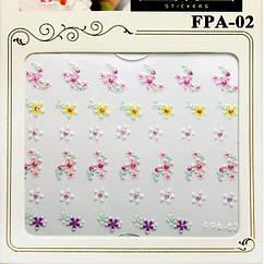 Наклейки для Ногтей Самоклеющиеся 3D Nail Sticrer FPA-02 Разноцветные Цветы Материалы для Дизайна Ногтей