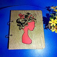 """Деревянный блокнот А5 """"Девушка-весна"""" (на кольцах), ежедневник из дерева, планер, органайзер"""