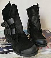 Зимние женские стильные ботинки Bella черный замш Турция, фото 1