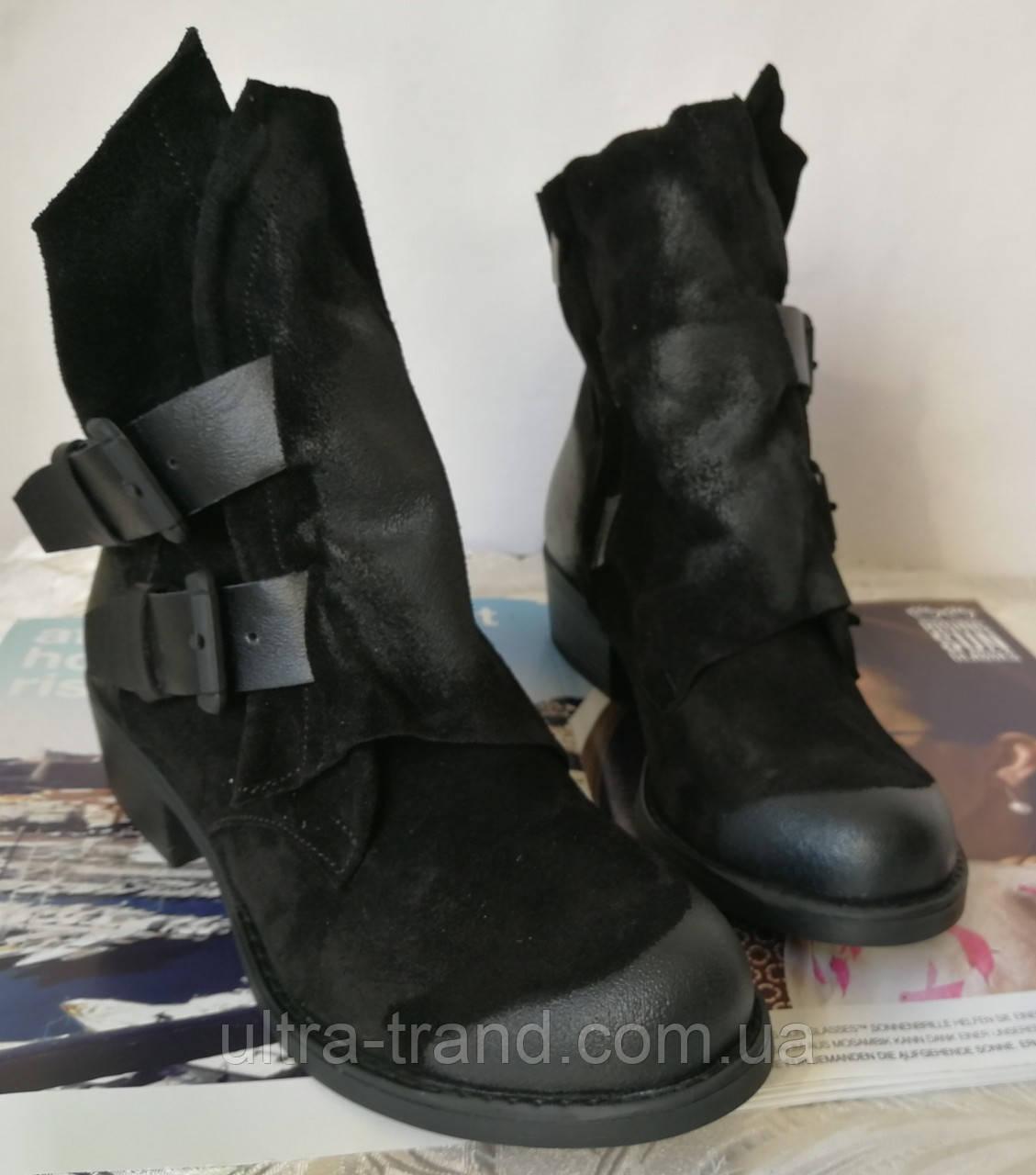 Зимние женские стильные ботинки Bella черный замш Турция