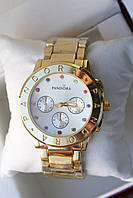 Часы красивые женские стильные золотистые Pandora 116531 с цветными стразами внутри