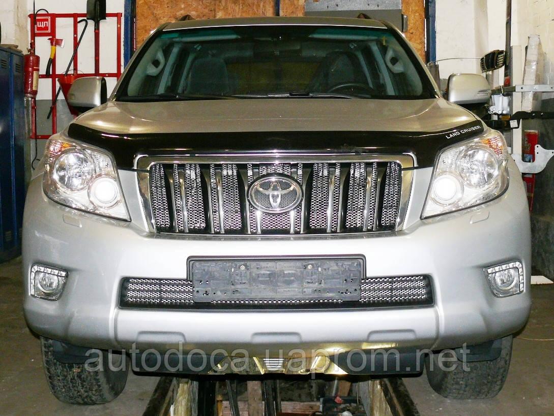 Декоративно-защитная сетка радиатора Toyota Land Cruiser Prado 150 фальшрадиаторная решетка, бампер