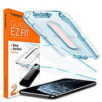 Защитное стекло Spigen для iPhone 11 Pro / XS / X EZ FIT GLAS.tR Screen Protector (2 шт), Clear (063GL25358)