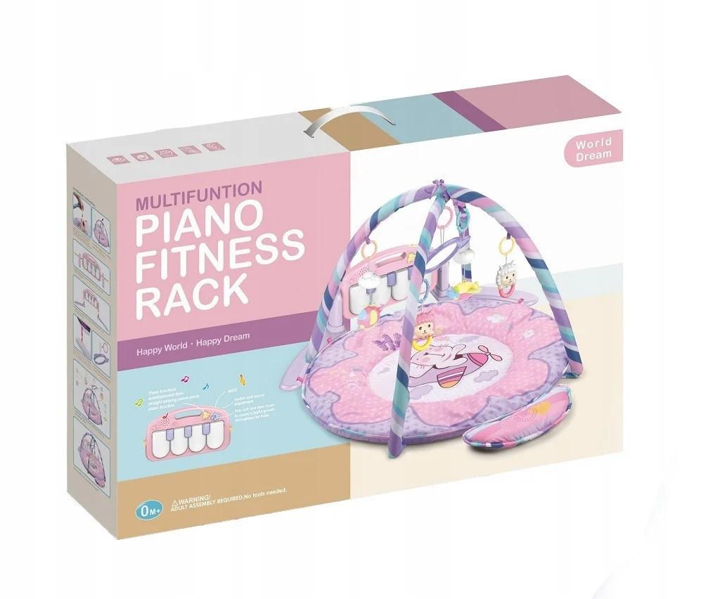 Детский развивающий коврик PIANO FITNESS RACKНЕ розовый