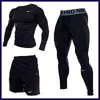 Компрессионная одежда Одежда для спортзала 3в1 Рашгард Мужские леггинсы Одежда для мма компрессионное белье #9