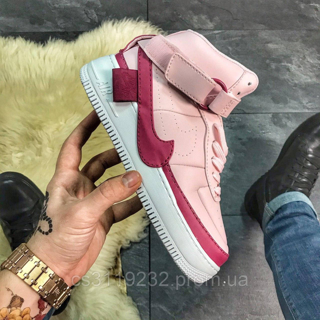 Женские кроссовки Nike Air Force 1 Jester High Black (розовые)
